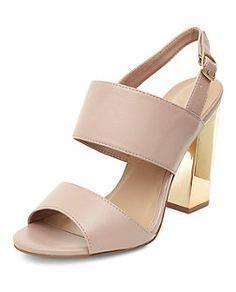 Beige Sandalen mit Doppelriemen und Metall-Blockabsatz, weite Passform | New Look