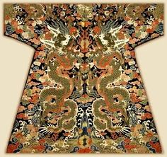 Aristocrat's robe with dragon motifs, China, Qing Dynasty, 17 century, courtesy metmuseum.org