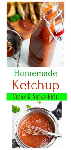 Making your own homemade ketchup is SO easy to do with only a few ingredients in about 10-minutes. With this sugar-free vegan ketchup, you get to control exactly what goes into it. #veganketchup #healthyketchup #sugarfreeketchup #glutenfreeketchup #homemadeketchup Vegan Recipes Beginner, Healthy Recipes On A Budget, Healthy Recipes For Weight Loss, Healthy Meals For Kids, Healthy Dessert Recipes, Healthy Sauces, Vegan Sauces, Vegan Foods, Healthy Food