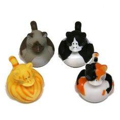12 Mini CAT Kitty Rubber Duckie Ducky Duck Party Favors, (fun bath toys)