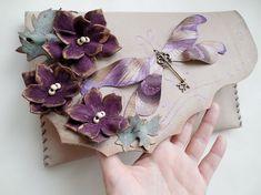 Dragonfly clutch bag Floral leather purse Unique by spiculdegrau