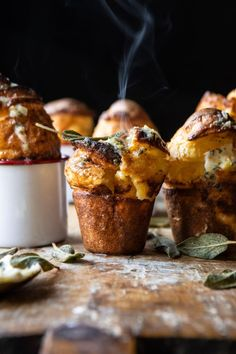 Parmesan Popovers with Crispy Sage Garlic Butter -You can find Parmesan and more on our website.Parmesan Popovers with Crispy Sage Garlic Butter - Vegetarian Recipes, Cooking Recipes, Bread Recipes, Crockpot Recipes, Easy Recipes, Chicken Recipes, Vegetarian Appetizers, Tofu Recipes, Meatball Recipes