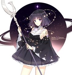Imagen anime con bishoujo senshi sailor moon toei animation tomoe hotaru sailor saturn nardack single tall image short hair looking at viewer black hair fringe purple eyes signed character names 2014 adapted costume girl dress weapon detached sleeves Sailor Moons, Sailor Moon Crystal, Sailor Pluto, Anime Oc, Manga Anime, Sailor Moon Kunst, Sailor Moon Fan Art, Anime Art Girl, Anime Girls