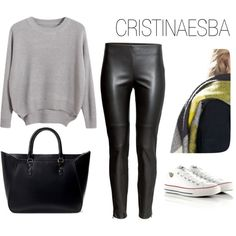 """""""grey and black outfit"""" by cristinaesba on Polyvore"""