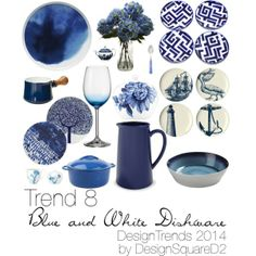 """Trend 8 Blue & White Dishware"" by design2square on Polyvore Article Design, Home Staging, Blue And White, Interior Design, Polyvore, Inspiration, Women, Decor, Design Interiors"