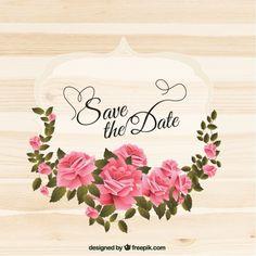 Etiqueta do casamento com rosas grinalda Vetor grátis