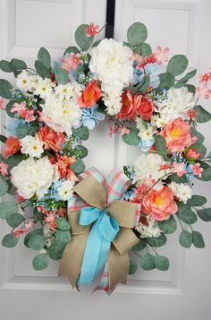 Coral and Blue Everyday Wreath for Front Door, White Peony and Eucalyptus Wreath, Spring and Summer Wreath, All Occasion Porch Decor Poinsettia Wreath, Xmas Wreaths, Wreaths For Front Door, Easter Wreaths, Diy Spring Wreath, Diy Wreath, Outdoor Wreaths, Porch Decorating, Peony