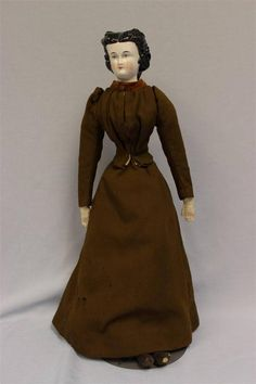 """22"""" Antique Conta & Boehme CHINA HEAD Doll 1870 FANCY HAIR BooBoo Barg Old Body"""