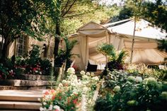 Seating for up to 200 guests Tented and beautifully draped Views of the gardens, saltwater pool and fountains Available rain or shine