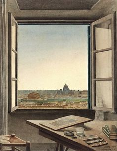 """""""View of Rome from the Artist's room at the Villa Medici"""" (1863) By Constant Moyaux, from France (1835 – 1911) - watercolor on paper; 29.4 x 22.7 cm; 11 5/8 x 9 in © Musée des Beaux Arts, Valenciennes"""