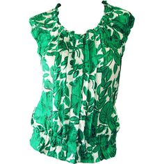 Green White Floral Print Top ($154) ❤ liked on Polyvore