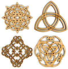"""EP Laser Celtic Ornaments 3"""" Set of 4 for Decorations, Gifts or Crafts - Attach to Gift Baskets, DIY Applications, Decorate - Scottish, British, Welsh, Irish Décor - Made from Recycled Wood EP Laser http://www.amazon.com/EP-Laser-Celtic-Ornaments-Decorations/dp/B01E7PN334/ref=sr_1_1?ie=UTF8&qid=1460611746&sr=8-1&keywords=irish+gifts"""