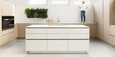 Iced Oak, white and greige glossy fronts, white Corian worktops Corian Worktops, Work Tops, Touch, Future House