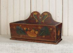 Pennsylvania painted poplar hanging wall box, ca. 1830, decorated with love birds and flowers, 7.75 H. x 13 W.