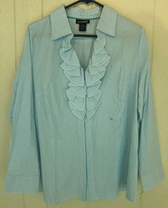 Lane Bryant Ruffle Button Stretch Turquoise Blue White Stripe Long Sleeve Top 18 #LaneBryant #ButtonDownShirt
