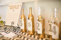 cute idea, message in a bottle, write a message for the bride and groom to open on each anniversary year.