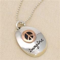 Peace Sign 'Imagine' Necklace in Silver & Copper
