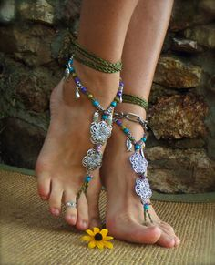 GAIA BAREFOOT sandals Army Green ANKLETS Gypsy Sandals sole less shoes Crochet anklets Antique flowers. $75.00, via Etsy.