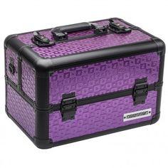 anndora Beauty Case Kosmetikkoffer Schminkkoffer Werkzeugkoffer Violett Schwarz  | Violett / Rahmen Schwarz