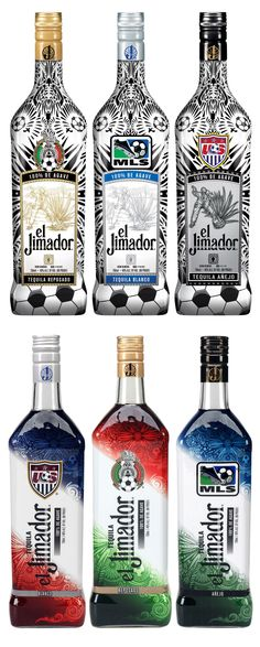 Special Football (soccer) edition Bottles for El Jimador Tequila from 2012 and 2013.