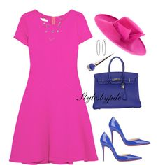 Happy Easter In Pink And Blue !!! by stylesbypdc on Polyvore featuring Oscar de la Renta, Christian Louboutin, Hermès, Nephora, Philip Treacy and stylesbypdc