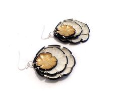 Flower earrings Long dangle leather earrings Beige by julishland, $9.00