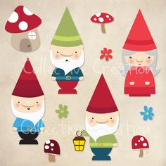 Gnomes and Mushrooms Digital Clip Art Set  by CollectiveCreation, $4.00