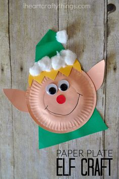 Paper Plate Christmas Elf Craft – I Heart Crafty Things Paper Plate Christmas Elf Craft Read a favorite Christmas book with elves and then make this adorable Paper Plate Elf Craft. It makes a fun Christmas craft for kids of all ages. Christmas Arts And Crafts, Christmas Activities For Kids, Preschool Christmas, Christmas Projects, Christmas Fun, Christmas Crafts Paper Plates, Christmas Books For Kids, Holiday Crafts For Kids, Christmas Decorations