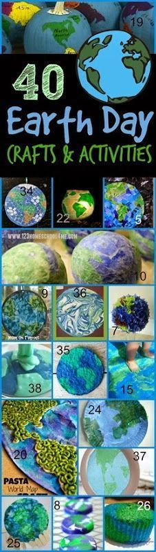 40 unique, creative, and fun earth day crafts for kids and kids activities perfect for celebrating Earth Day on April 22nd with toddler, preschool, kindergarten, 1st grade, 2nd grade or some fun introduction to geography