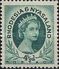 Rhodesia and Nyasaland, 1.7.1954, Queen Elizabeth II. No.7 4 1/2d  bluish green, Stamped 6,76 USD, Mint Condition 6,76 USD.