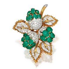 18 Karat Two-Color Gold, Emerald and Diamond Brooch   lot   Sotheby's