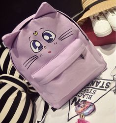 "Lovely buyershow from @cry.kitteu on instagram ^∇^ Color:purple.light blue.black. Size: Height:37cm/14.43"". Width:30cm/11.70"". Thick:12cm/4.68"". Fabric material:canvas. Tips: *Please double check abov"