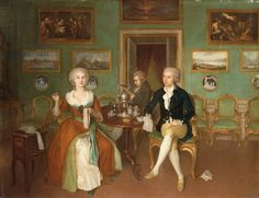 Georg Christoph Groot - Portrait of Count Ulrich Friedrich Woldemar Levendalya with his wife c. Rococo, Baroque, History Images, Art History, House Drawing, Drawing Room, 18th Century Fashion, Dutch Painters, Tea Art