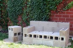 DIY Outdoor Sofa That Will Last a Lifetime cinder block couch Cinder Block Furniture, Cinder Block Bench, Cinder Block Garden, Cinder Blocks, Outside Furniture, Diy Outdoor Furniture, Garden Furniture, Unique Furniture, Furniture Ideas