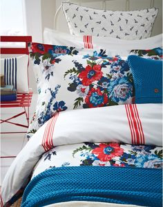 Joules Amelie Floral Duvet Cover, Floral. If you're a fan of florals then this is the duvet cover for you, adorned with big, bright hand-drawn blooms it's sure to give any bedroom a fresh feel. Once it's turned back you'll see a striped reverse which gives a balance to the punchy print. We used only the highest cotton to ensure a perfect balance of style and comfort.
