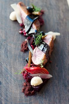 Aged Duck, Beets, Fennel, Panisse, and Cured Olives.    AQ Restaurant & Bar - San Francisco, CA, USA.