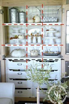 DESIGNER TRICKS FOR BEAUTIFULLY ARRANGED SHELVES- We can do this! -stonegableblog.com Glass Shelves, Mirror, Decor, Decoration, Decorating, Glass Display Shelves, Mirrors, Interiors, Deco