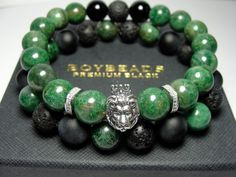 Edgar + Ernest BOYBEADS Green African Jade Sterling Silver Crowned Lion Beaded Bracelet Gift Set for Men