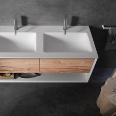 New 45° #vanity features an #authentic #vintage oak drawer front to provide a #rustic touch to the #modern #bathroom