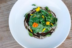 SPINACH SALAD WITH A PRESERVED LEMON RANCH, BLACK OLIVE EMULSION & EDIBLE FLOWERS FROM MY ADVANCED RAW CUISINE COURSE AT M.A.K.E SANTA MONICA - My Weekend at Matthew Kenney Culinary of Santa Monica
