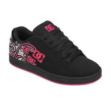 DC PIXIE PAISLEY  Womens Skate Shoes BLACK & PINK