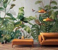 Green Parrot on Tropical Leaf Wallpaper / Green Leaves Wallpaper / Tropical Jungle Wallpaper / Prepasted Wallpaper / Removable Wallpaper