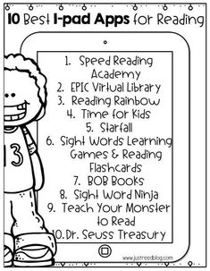 This FREE printable list of the top ten reading apps for Kindergarten through second graders helps make it easy to add technology to the classroom! #classroomtechnology #ipad #ipadsintheclassroom #ipadapps #readingapps
