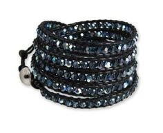 Chan Luu Crystal Montana AB Black Leather Wrap Bracelet