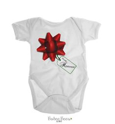 From Heaven  This Christmas Onesie Brand is a cute way to dress up babys first Christmas for a baby boy or baby girl who has been sent from heaven!