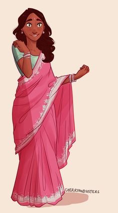 grown-up Connie wearing a sari