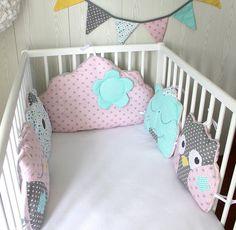 Tour de lit 5 coussins chat et hibou ou chouette, et nuage, couleur au choix