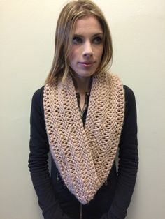 Beige Chunky Knit Infinity Scarf by EterKnityCreations on Etsy