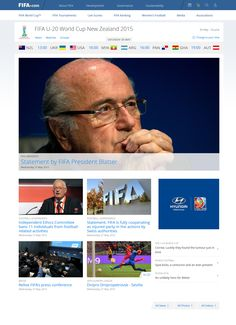 FIFA homepage on the day that some of its leadership was arrested on widespread corruption charges, 27 May 2015.