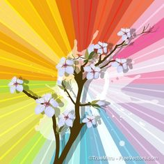 Flower branch with multicolor background